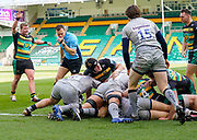Referee Matthew Carley blows the whistle to award a try by Northampton Saints flanker Lewis Ludlam (hidden) during a Gallagher Premiership Round 13 Rugby Union match, Saturday, Mar. 13, 2021, in Northampton, United Kingdom. (Steve Flynn/Image of Sport)