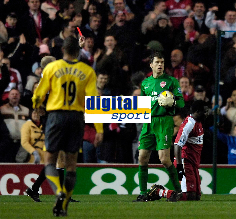 Photo: Jed Wee.<br /> Middlesborough v Arsenal. The Barclays Premiership. 03/02/2007.<br /> <br /> Arsenal goalkeeper Jens Lehmann reacts with dismay after referee Mike Riley shows the red card to team mate Philippe Senderos (not in frame) for his professional foul on Middlesbrough's Yakubu (C).