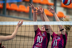 Jolien Knollema of Eurosped, Lisa Boer of Eurosped in action during the league match Talentteam Papendal vs.  Eurosped on January 23, 2021 in Ede.