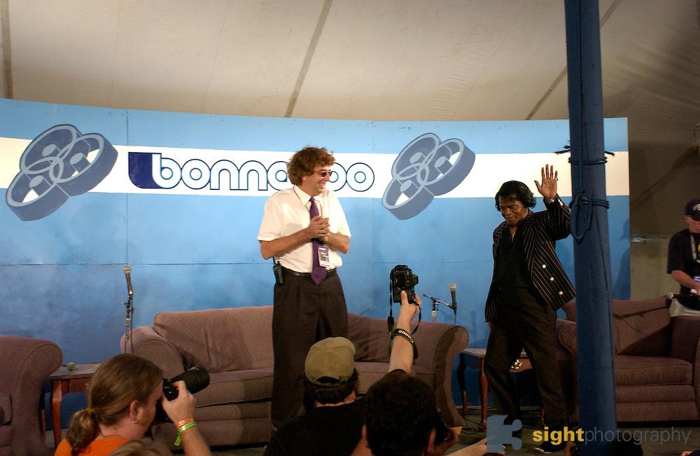 Manchester, TN.  2003 Bonnaroo Music Festival. James Brown performs at Bonnaroo 2004. Mandatory Credit: Bryan Rinnert/3Sight Photography..