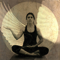 Woman in receptive yoga mudra meditiation pose with wing overlay.<br /> :::<br /> Prayer of St. Francis of Assisi<br /> <br /> Lord, make me an instrument of your Peace,<br /> Where there is hatred let me Love,<br /> Where there is injury, pardon,<br /> Where there is doubt, faith,<br /> Where there is despair, hope,<br /> Where there is darkness, light,<br /> And where there is sadness, joy.<br /> <br /> Oh divine master,<br /> Grant that I may not so much seek to be consoled as to console,<br /> To be understood as to understand,<br /> To be loved as to love.<br /> For it is in giving that we receive<br /> It is in pardoning that we are pardoned<br /> And it is in dying that we are born to eternal life.