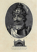 Euric (also known as Evaric, or Eurico in Spanish and Portuguese (c. 420 – 28 December 484), son of Theodoric I, ruled as king (rex) of the Visigoths, after murdering his brother, Theodoric II,[2] from 466 until his death in 484. Sometimes he is called Euric II. Copperplate engraving From the Encyclopaedia Londinensis or, Universal dictionary of arts, sciences, and literature; Volume VIII;  Edited by Wilkes, John. Published in London in 1810.