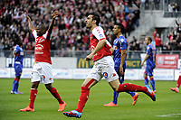 FOOTBALL - FRENCH CHAMPIONSHIP 2011/2012 - STADE DE REIMS v AS MONACO   - 07/05/2015 - PHOTO JEAN MARIE HERVIO / REGAMEDIA / DPPI - JOY CEDRIC FAURE (STR) AFTER HIS GOAL