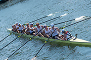 """Henley on Thames, United Kingdom, 8th July 2018, Sunday, Final, """"Temple Challenge Cup"""", """"University of Washington"""" , winners,  """"Fifth day"""", of the annual,  """"Henley Royal Regatta"""", Henley Reach, River Thames, Thames Valley, England, © Peter SPURRIER,"""