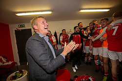 Broxburn Athletic manager Brian McNaughton and players cele in the dressing room at the end. Broxburn Athletic FC 3 v 0 Cowdenbeath, William Hill Scottish Cup 2nd Round replay played 26/10/2019 at Albyn Park, Greendykes Road, Broxburn.
