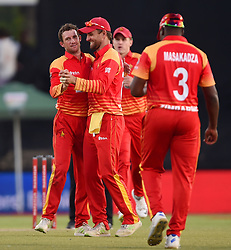 Cape Town-181006- Zimbabwean  fast bowler  Sean Williams  celebrates after getting Aiden Makram's wicket in the 3rd ODI match at Boland Park cricket stadium. .Photographer:Phando Jikelo/African News Agency(ANA)
