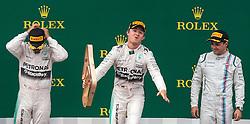 21.06.2015, Red Bull Ring, Spielberg, AUT, FIA, Formel 1, Grosser Preis von Österreich, Rennen, im Bild v.l.: 2. Platz, Lewis Hamilton, (GBR, Mercedes AMG Petronas F1 Team), Sieger Nico Rosberg, (GER, Mercedes AMG Petronas F1 Team) und 3. Platz, Felipe Massa, (BRA, Williams Martini Racing) // f.l.: 2nd placed, Lewis Hamilton, (GBR, Mercedes AMG Petronas F1 Team), Winner Nico Rosberg, (GER, Mercedes AMG Petronas F1 Team) und 3rd placed, Felipe Massa, (BRA, Williams Martini Racing) during the Race of the Austrian Formula One Grand Prix at the Red Bull Ring in Spielberg, Austria, 2015/06/21, EXPA Pictures © 2015, PhotoCredit: EXPA/ JFK