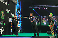 Gary Anderson in action in his match against Peter Wright during the Unibet PDC Premier League of darts at Marshalls Arena, Stadium MK, Milton Keynes, England. UK on 7 April 2021.