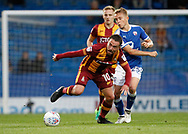 Paul Taylor of Bradford City takes the ball away from Louis Reed of Chesterfield during the EFL Trophy match between Chesterfield and Bradford City at the b2net stadium, Chesterfield, England on 29 August 2017. Photo by Paul Thompson.