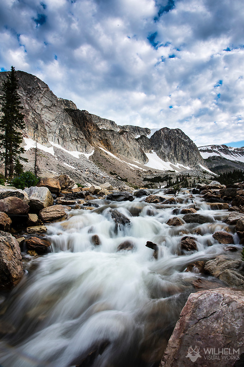 A motion blur landscape of the creek at the base of Mirror Lake in Medicine Bow Peak outside Centennial, WY. ©Brett Wilhelm