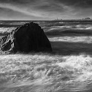 Franklin Point Sea Stack - Davenport, CA - Black & White