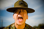 Marine Corps Sgt. Jonna Stewart yells at a recruit during weapons training at Parris Island, S.C., on Nov. 24, 2007. (Photo by Stacy L. Pearsall)