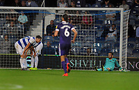 Football - 2019 / 2020 EFL Carabao (League) Cup - Second Round: Queens Park Rangers vs. Portsmouth<br /> <br /> Dejected QPR goalkeeper, Liam Kelly with players after Portsmouth's 2nd goal  at Kiyan Prince Foundation Stadium (Loftus Road).<br /> <br /> COLORSPORT/ANDREW COWIE