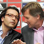 Besiktas Istanbul's soccer club new coach German Bernd Schuster (R) speaks at a press conference after a signing ceremony in Istanbul, Turkey on 16 June 2010. Schuster signed a two years contract with the Turkish soccer club. Photo by TURKPIX