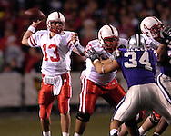 Nebraska quarterback Zac Taylor (13) gets ready to throw down field against Kansas State at Bill Snyder Family Stadium in Manhattan, Kansas, October 14, 2006.  The Huskers beat the Wildcats 21-3.<br />