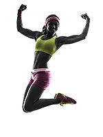 one  woman jumping arms raised in silhouette on white background