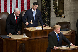 January 30, 2018 - Washington, District Of Columbia, U.S. - Speaker of the United States House of Representatives PAUL RYAN, Republican of Wisconsin, gavels Congress to order as United States President DONALD J. TRUMP prepares to deliver the State Of The Union Address to a joint session of Congress at the United States Capitol. (Credit Image: © Alex Edelman via ZUMA Wire)