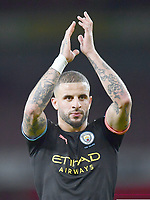 Football - 2019 / 2020 Premier League - Arsenal vs. Manchester City<br /> <br /> Manchester City's Kyle Walker celebrates their 3-0 victory, at The Emirates.<br /> <br /> COLORSPORT/ASHLEY WESTERN