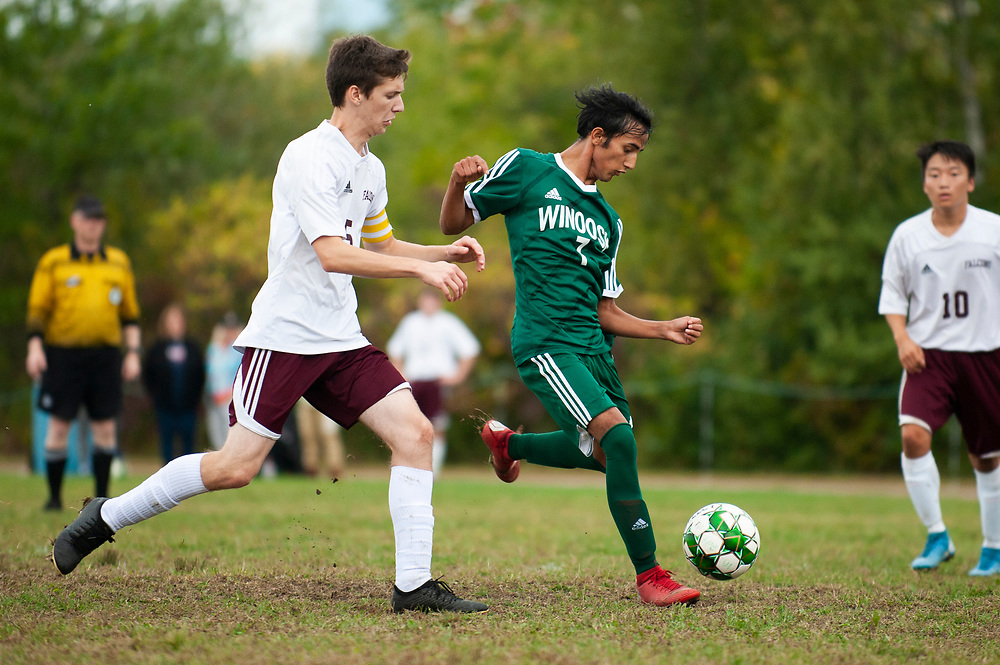 Winooski's Lek Nath Luitel (7) takes a shot during the boys soccer game between the Richard Eagles and the Winooski Spartans at Winooski High School on Saturday afternoon September 28, 2019 in Winooski, Vermont. (BRIAN JENKINS/for the FREE PRESS)