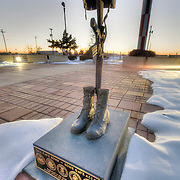 """Dedication area at the B-29 All Veterans Memorial in at the Pratt Municipal Airport in Pratt, Kansas. The lower portion reads """"All gave some, some gave all."""""""