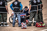 #14 (CALEYRON Quentin) FRA went down hard at the 2014 UCI BMX Supercross World Cup in Santiago Del Estero, Argentina.