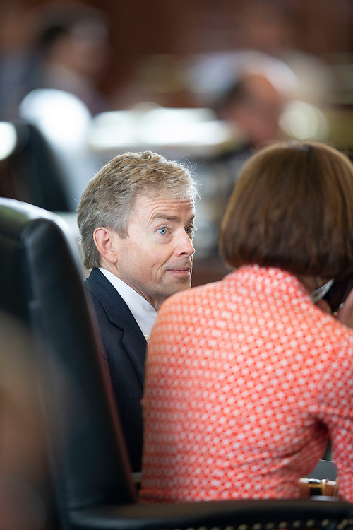 Texas State Senator Don Huffines talks with Senate colleague Lois Kolkhorst on the Senate floor on January 21, 2015 shortly after taking office. Huffines served until 2019 and has announced his candidacy for Texas governor against Greg Abbott in 2021.