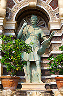 Statue of Orpheus. The Organ fountain, 1566, housing organ pipies driven by air from the fountains. Villa d'Este, Tivoli, Italy - Unesco World Heritage Site. .<br /> <br /> Visit our ITALY PHOTO COLLECTION for more   photos of Italy to download or buy as prints https://funkystock.photoshelter.com/gallery-collection/2b-Pictures-Images-of-Italy-Photos-of-Italian-Historic-Landmark-Sites/C0000qxA2zGFjd_k<br /> If you prefer to buy from our ALAMY PHOTO LIBRARY  Collection visit : https://www.alamy.com/portfolio/paul-williams-funkystock/villa-este-tivoli.html