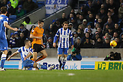 Brighton central midfielder, Beram Kayal (7) shoots at goal during the Sky Bet Championship match between Brighton and Hove Albion and Wolverhampton Wanderers at the American Express Community Stadium, Brighton and Hove, England on 1 January 2016. Photo by Phil Duncan.