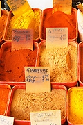 Spice seller at a market. Tandoori, 4 spices, 5 perfumes, saffron,... Collioure. Roussillon. France. Europe.