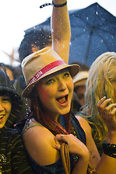 Fans in the rain enjoy David Guetta on the main stage. Rockness, Saturday 13th June 2009..Pic © Michael Schofield. All Rights Reserved.