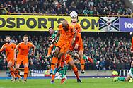 Netherlands defender Joel Veltman (2) rises highest to clear the danger during the UEFA European 2020 Qualifier match between Northern Ireland and Netherlands at National Football Stadium, Windsor Park, Northern Ireland on 16 November 2019.