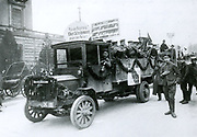 Elections in Germany in 1919: Campaigning in Berlin for members of the Social Democratic Party with the slogan Ebert and Scheidemann for the Government against the Terror.  Friedrich Ebert (1871-1925) became the first President of the Weimar Republic and