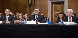 July 13, 2017 - Washington, District of Columbia, United States of America - Patrick Pizzella, left, testifies on his nomination as Deputy US Secretary of Labor; Marvin Kaplan, center, testifies on his nomination as a Member of the National Labor Relations Board; and William Emanuel, right, testifies on his nomination as a Member of the National Labor Relations Board before the United States Senate Committee on Health, Education, Labor, and Pensions  on Capitol Hill in Washington, DC on Thursday, July 13, 2007.Credit: Ron Sachs / CNP (Credit Image: © Ron Sachs/CNP via ZUMA Wire)