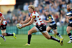 Billy Twelvetrees of Gloucester Rugby passes the ball - Mandatory byline: Patrick Khachfe/JMP - 07966 386802 - 26/09/2015 - RUGBY UNION - The Recreation Ground - Bath, England - Bath Rugby v Gloucester Rugby - West Country Challenge Cup.