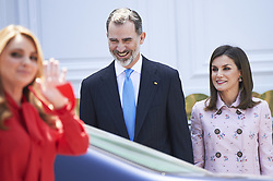 April 25, 2018 - Madrid, Madrid, Spain - King Felipe VI of Spain, Queen Letizia of Spain, Angelica Rivera attend a Lunch at Zarzuela Palace during a short visit of President of Mexico on April 25, 2018 in Madrid, Spain (Credit Image: © Jack Abuin via ZUMA Wire)
