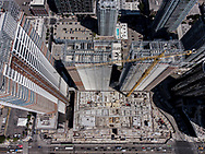 """Ocean Wide Plaza in Downtown Los Angeles remains in limbo. The Chinese funded project was to be LA's premier location to live, visit, and shop. It consist of two residential towers and a giant Park Hyatt 5 star hotel on 4.6 acres of prime real estate. The $1 billion dollar project lost funding right before the pandemic and work stopped leaving three giant skeleton structures looming next to the Staples Center. The project is now dubbed the """"Zombie Towers"""" by downtown locals with no completion date or ownership in sight."""