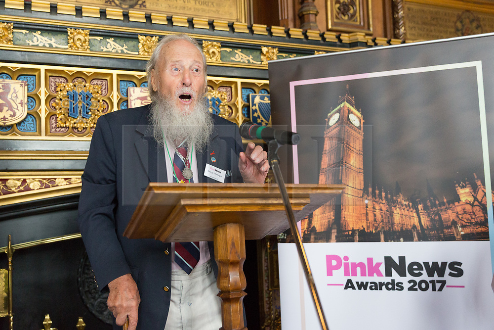 © Licensed to London News Pictures. 18/07/2017. LONDON, UK.  GEORGE MONTAGUE, the oldest living British man to have been imprisoned for his homosexuality speaking at a Pink News parliamentary reception to celebrate the 50th anniversary of decriminalisation on homosexuality, held at Speaker's House in the Palace of Westminster in London.  Photo credit: Vickie Flores/LNP
