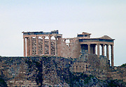 Views of a deserted Parthenon dedicated to the goddess Athena constructed from 447-438 BC at the acropolis .