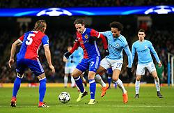 Luca Zuffi of Basel and Leroy Sane of Manchester City - Mandatory by-line: Matt McNulty/JMP - 07/03/2018 - FOOTBALL - Etihad Stadium - Manchester, England - Manchester City v Basel - UEFA Champions League, Round of 16, second leg