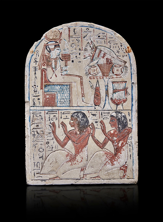 """Ancient Egyptian Ra stele , limestone, New Kingdom, 19th Dynasty, (1279-1190 BC), Deir el-Medina,  Egyptian Museum, Turin. black background.<br /> <br /> Khonsu sits on a cube-like throne and wears the solar disc and half-moon on his head. He faces an offering table piled with food and flowers. The hieroglyphic inscription reads: """"Khonsu-in-Thebes, Neferhotep. Protection, life, stability and power surround him, like Ra. Libation for your ka with bread, beer, oxen and fowl.""""Lower register depicts two men kneeling in adoration. They face to the left: Nebre, whose title is kedw sesh """"draughtsman"""" and his son, Amenemope.""""Give praise to Khonsu-in-Thebes by the scribe of Amun in the Place of Truth Nebra, justified in peace, he loved his son, Amenemope, justified"""".In the bottom register are the """"Draughtsman-scribe of Amun in the Place of Truth"""", Nebre, and his son, Amenemope""""<br /> <br /> Akh iqer en Ra """" the excellent spirit of Ra' stele.One of three stele forund in different rooms of houses in Deir el-Medina where they stood in niches .<br /> <br /> If you prefer to buy from our ALAMY PHOTO LIBRARY  Collection visit : https://www.alamy.com/portfolio/paul-williams-funkystock/ancient-egyptian-art-artefacts.html  . Type -   Turin   - into the LOWER SEARCH WITHIN GALLERY box. Refine search by adding background colour, subject etc<br /> <br /> Visit our ANCIENT WORLD PHOTO COLLECTIONS for more photos to download or buy as wall art prints https://funkystock.photoshelter.com/gallery-collection/Ancient-World-Art-Antiquities-Historic-Sites-Pictures-Images-of/C00006u26yqSkDOM"""