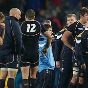 Dan Parks, Scotland, left, in tears at the end of the game after Scotland's loss during the England V Scotland Pool B match during the IRB Rugby World Cup tournament. Eden Park, Auckland, New Zealand, 1st October 2011. Photo Tim Clayton...