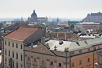view from the Clock Tower towards the Church of St Peter and Paul in Krakow Poland