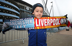 Young fan, Jude Jenkins, before the UEFA Champions League, Quarter Final at the Etihad Stadium, Manchester.