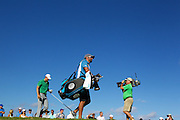 January 07 2016:  Jordan Speith and caddie walk off the fourteenth tee during the First Round of the Hyundai Tournament of Champions at Kapalua Plantation Course on Maui, HI. (Photo by Aric Becker)