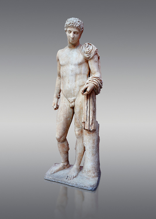 Roman marble statue of Hermes found at Aigion, Pelopenese. 27 BC - 14 AD. Athens Archaeological Museum Cat No 241. Against grey<br /> <br /> Hermes is depicted standing wearing a chalamys that is wound around his lest arm. In his right hand he holds a purse and in his left a 'caduceus'. Augustan Roman period .<br /> <br /> If you prefer to buy from our ALAMY STOCK LIBRARY page at https://www.alamy.com/portfolio/paul-williams-funkystock/greco-roman-sculptures.html . Type -    Athens    - into LOWER SEARCH WITHIN GALLERY box - Refine search by adding a subject, place, background colour, etc.<br /> <br /> Visit our ROMAN WORLD PHOTO COLLECTIONS for more photos to download or buy as wall art prints https://funkystock.photoshelter.com/gallery-collection/The-Romans-Art-Artefacts-Antiquities-Historic-Sites-Pictures-Images/C0000r2uLJJo9_s0