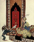 Every Day The Ape Returned Bringing A Thousand Pieces Of Gold<br /> Colour illustration of The Story Of Abou Mahomed The Lazy from the book '  More tales from the Arabian nights, based on the translation from the Arabic ' by Edward William Lane and Frances Jenkins Olcott, Publisher New York, H. Holt and company 1915