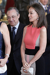 19.06.2014, Palacio Real, Madrid, ESP, Inthronisierung, König Felipe VI, Empfang im Palast, im Bild Real Madrid's President Florentino Perez and the ex model Isabel Preysler // during the Enthronement ceremonies of King Felipe VI at the Palacio Real in Madrid, Spain on 2014/06/19. EXPA Pictures © 2014, PhotoCredit: EXPA/ Alterphotos/ Acero<br /> <br /> *****ATTENTION - OUT of ESP, SUI*****