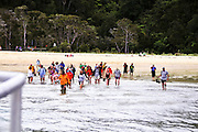 New Zealand, South Island, Nelson, Bark Bay Abel Tasman National Park Sea shuttle