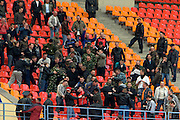 Moscow, Russia, 16/05/2008..Police play the role of rioting fans during security practice inside Luzhniki stadium, location for the forthcoming European Champion's Cup final between Manchester United and Chelsea. Moscow authorities are preparing to deal with some 50,000 visiting English football fans.