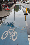 A section of the CS2 cycling superhighway blocked due to recent rainfall, on 29th August 2018, in London, England. The CS2 cycle route is about 4.3 miles 6.8 kilometres, from Stratford to Aldgate.